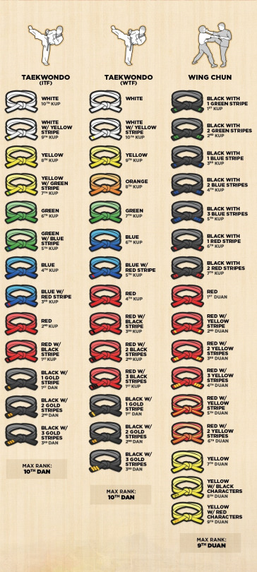 every single martial arts belt