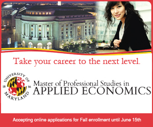 University of Maryland Master of Professional Studies in Applied Economics Accepting Online Applications for Fall Enrollment until June 15