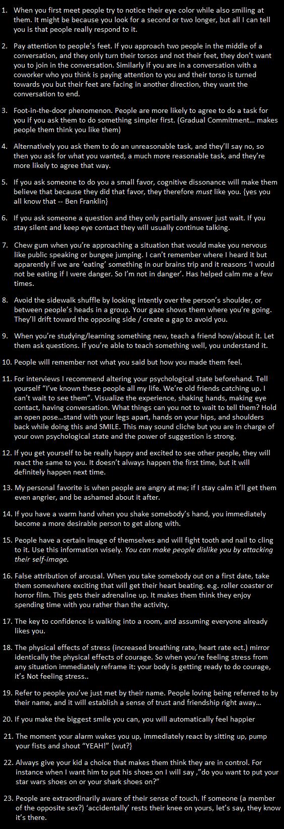 23 Psychological Life Hacks