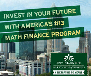 University of North Carolina Charlotte UNCC MFE Master of Mathematical Finance Sideboard 300x250